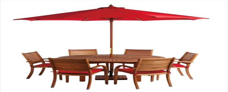 almeria 6 seater round wooden garden furniture