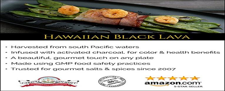 Hawaiian Black Lava Sea Salt - All Natural Unrefined Hawaiian Sea Salt Infused With Activated Charcoal - Finishing Salt Rich In Trace Minerals Gluten Free No-MSG Non GMO - 4 Ounces