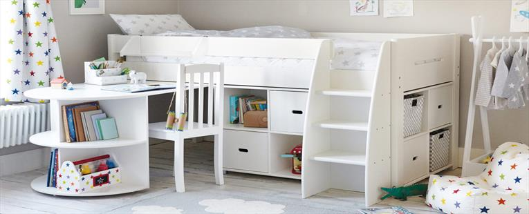 Merlin Mid Sleeper Bed, with Storage Units & Pull-out Desk