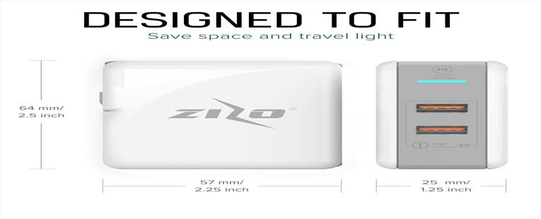 ZizoCharge H1 Dual USB Travel Wall Charger with Zizo Quick Charge 3.0