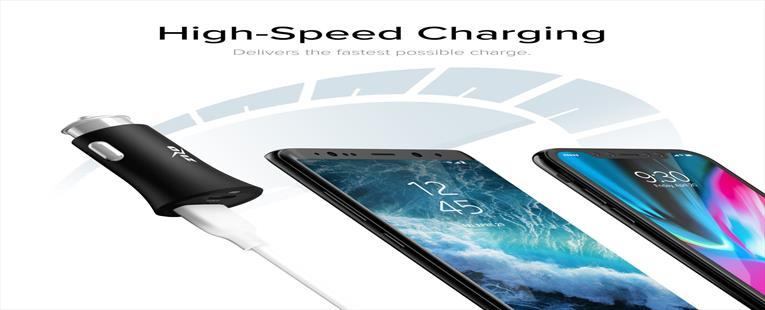 ZizoCharge F7 Car Charger with Zizo Quick Charge 3.0 Adapter and Type C Port Fast Charge