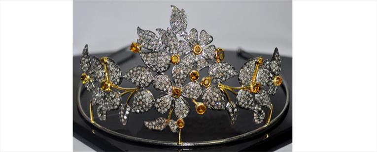 13.12Ct. Rose Cut Diamond Silver Golden Topaz Tiara