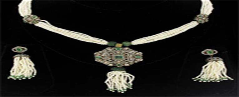 Rose Cut Polki Diamond Tassel Necklace Earrings Set
