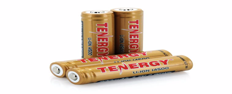 4-Pack Card: Tenergy 3.7V 800mAh Protected 14500 Li-ion Rechargeable Battery, Button Top, 2.96Wh