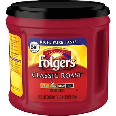Folgers® Classic Roast Ground Coffee; Regular, 30.5 oz. Can