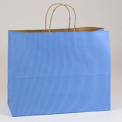"Shamrock 16 x 6 x 13"" Shadow Stripe Kraft Paper Jaguar Shopping Bags; French Country Blue, 250/CT"