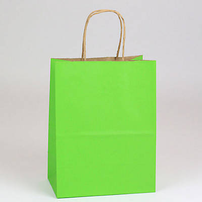 "Shamrock 8"" x 4 3/4"" x 10 1/2"" Shadow Stripe Kraft Paper Chimp Shopping Bags; Apple Green, 250/CT"