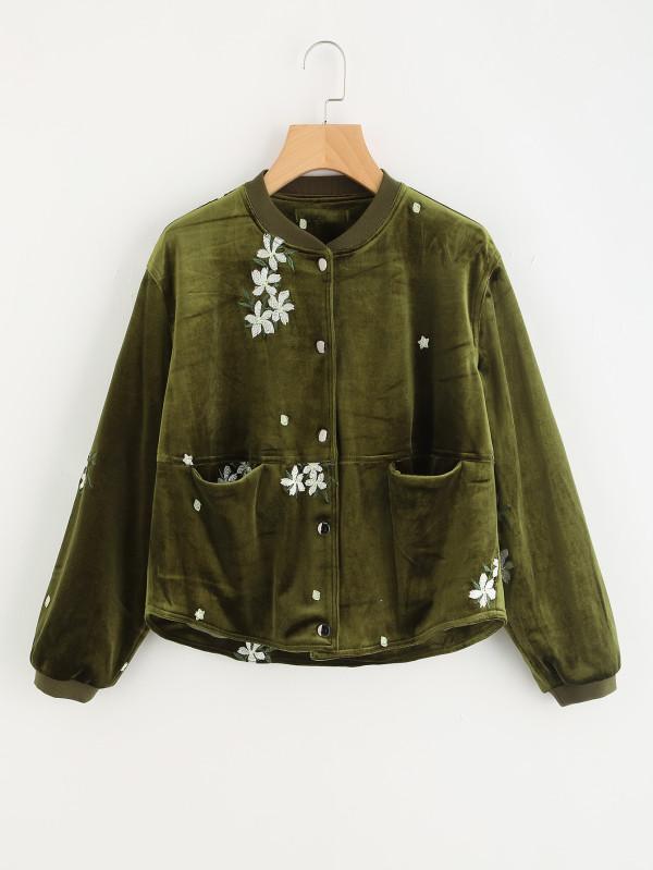 SHEIN Flower Embroidered Velvet Jacket