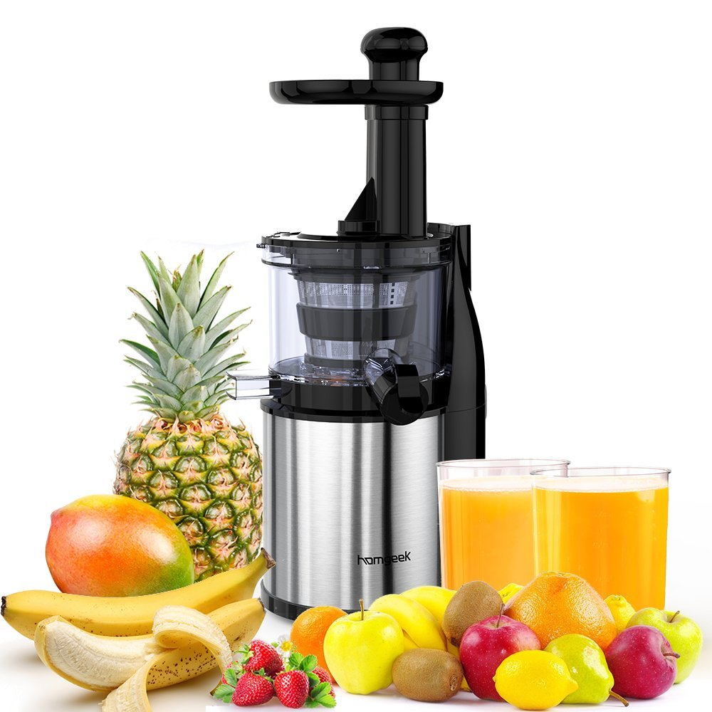 Homgeek Masticating Juicer Extractor, Slow Juicer Machine,Cold Press Juicer with Juice Jug and Cleaning Brush for High Nutritional Fruit and Vegetable Juice