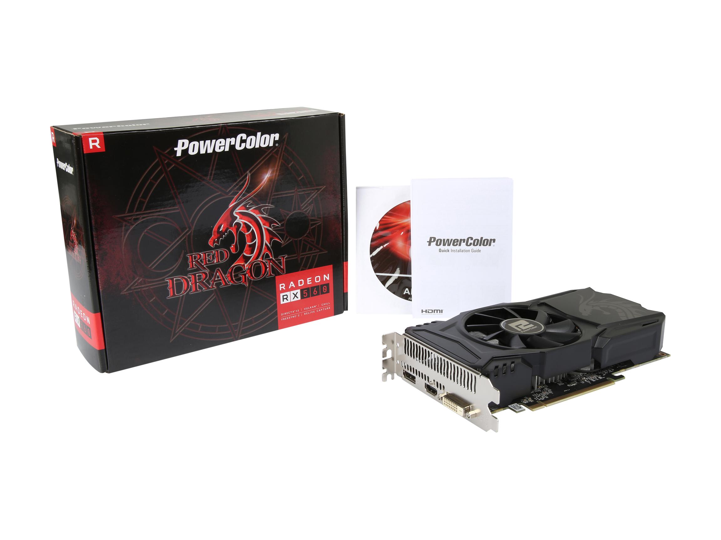 PowerColor Red Dragon Radeon RX 560 14CU DirectX 12 AXRX 560 4GBD5-DHA 4GB 128-Bit GDDR5 PCI Express 3.0 CrossFireX Support ATX Video Card