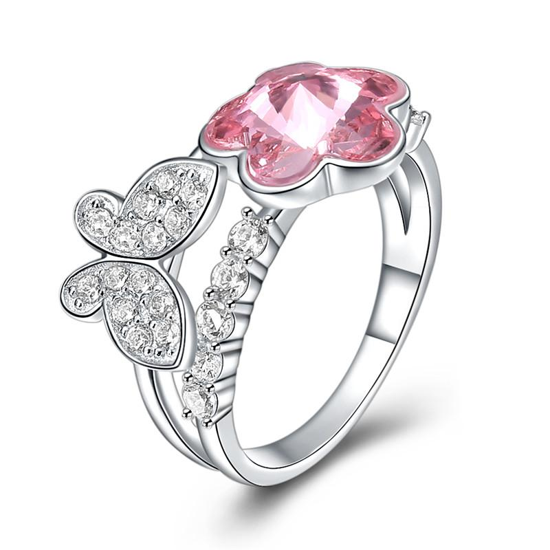 S925 Fashion Sterling Silver Pink Crystal Butterfly Flowers Ring Ladies Girls Women Birthday Valentine Gifts Elegant Design Favorable Price